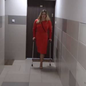 Eva Amputee: Clip 2: Red dress, skinny pantyhose