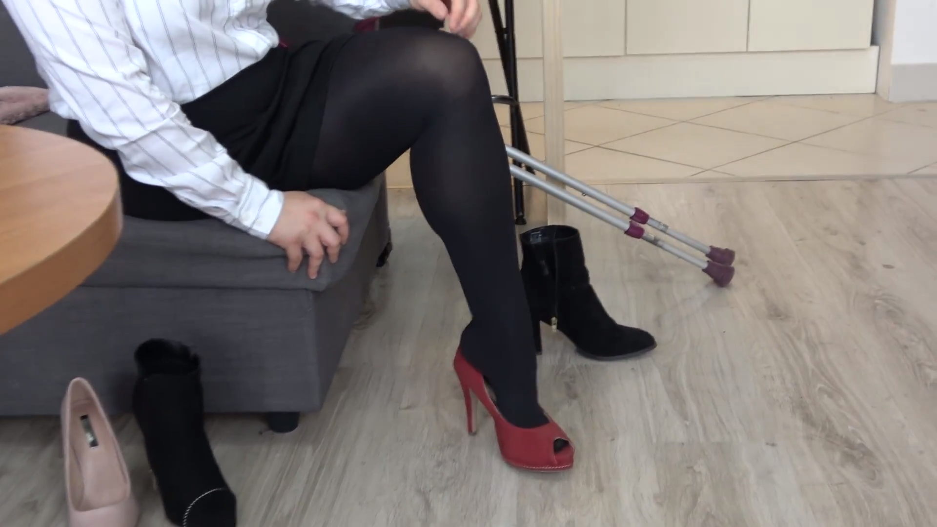 Eva Amputee Clip 3 Business Clothes, Black Pantyhose, Trying High Heels-6796
