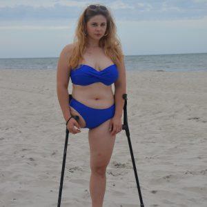 Eva Amputee: Blue Swimsuit!