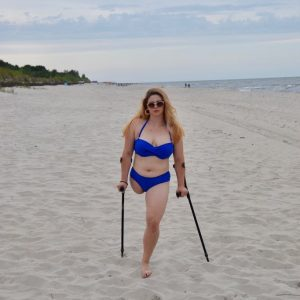 Eva Amputee: Holiday in blue swimsuit video!